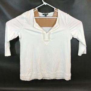 Lauren Ralph Lauren Womens Top XL White 3/4 Sleeve